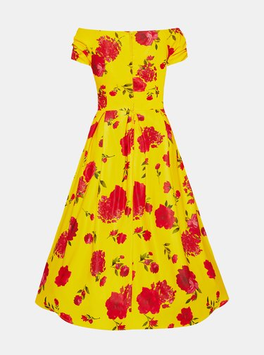 Žlté kvetované midišaty Dolly & Dotty