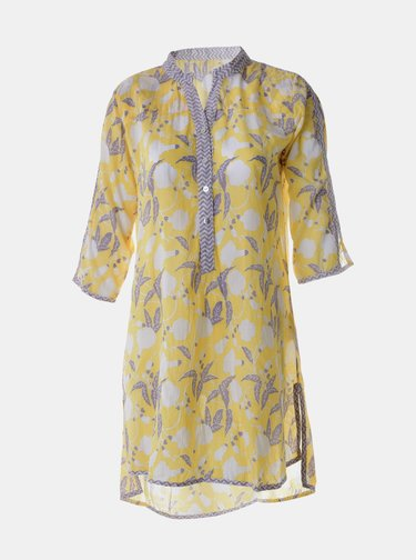 Žlutá květovaná dlouhá košile Ble