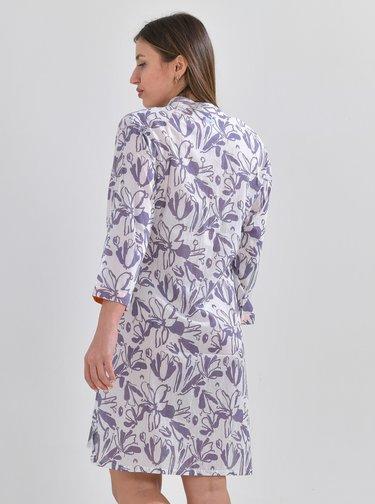 Fialovo-biela kvetovaná dlhá košeľa Ble