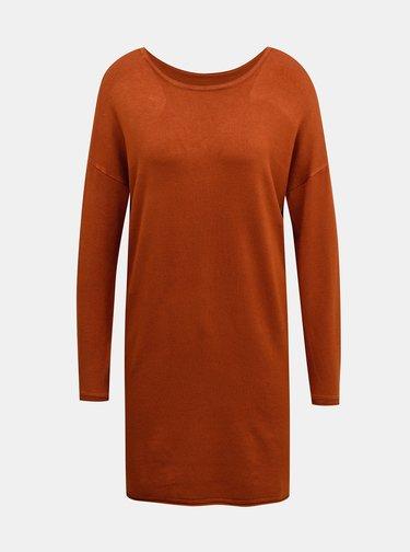 Hnedé svetrové šaty ONLY