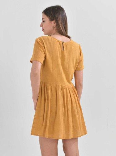 Žlté šaty s výšivkou Ble