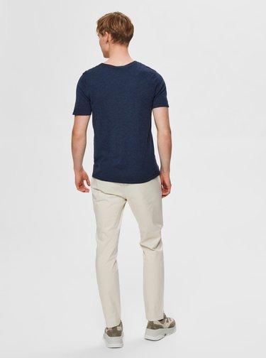 Tmavomodré basic tričko Selected Homme