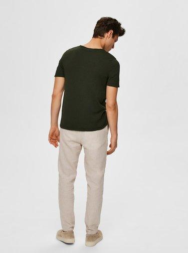 Kaki basic tričko Selected Homme