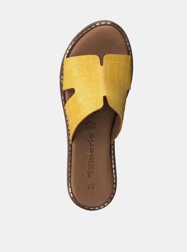 Žluté kožené pantofle s krokodýlím vzorem Tamaris