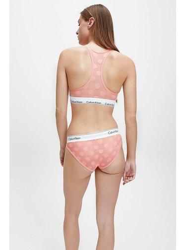 Calvin Klein růžová puntíkovaná podprsenka Unlined Bralette