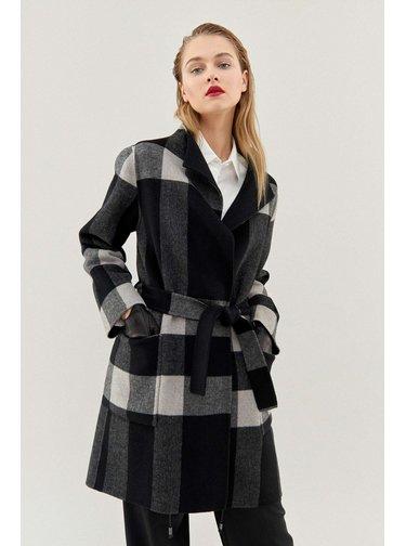 Pietro Filipi černo-šedý oboustranný kabát s kostkovaným vzorem