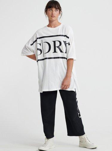 Biele dámske oversize tričko s potlačou Superdry