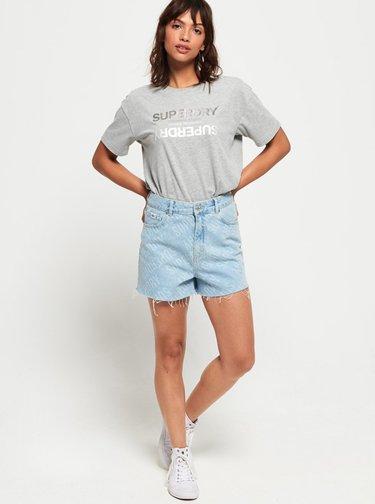 Šedé dámské tričko s potiskem Superdry