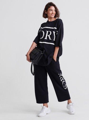Černé dámské oversize tričko s potiskem Superdry