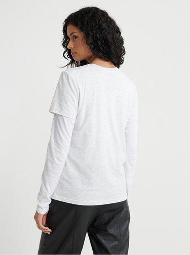 Světle šedé dámské tričko s potiskem Superdry