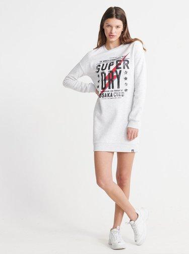 Světle šedé mikinové šaty s potiskem Superdry