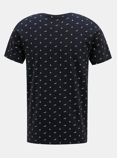 Tmavomodré vzorované tričko Selected Homme