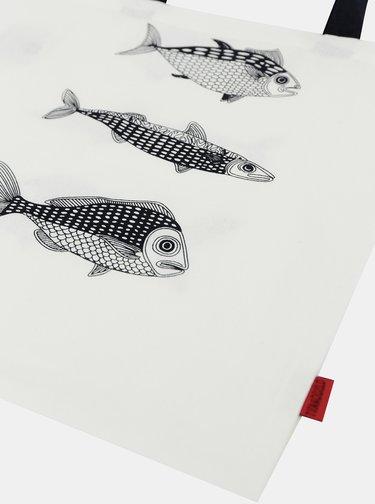 Bílá plátěná taška s potiskem Tranquillo Fish