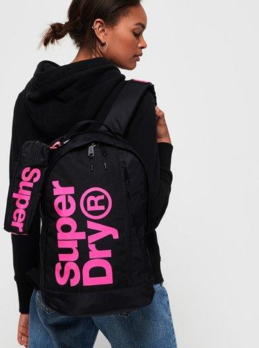 Čierny dámsky batoh s púzdrom Superdry
