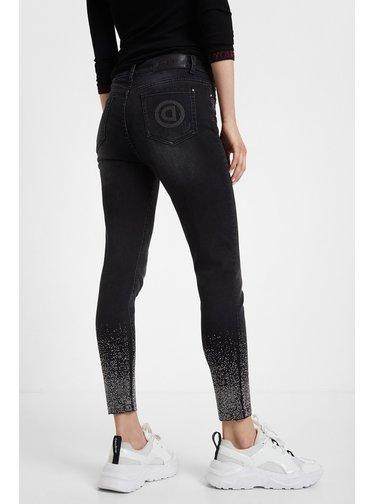 Desigual černé džíny Denim Nola s kamínky