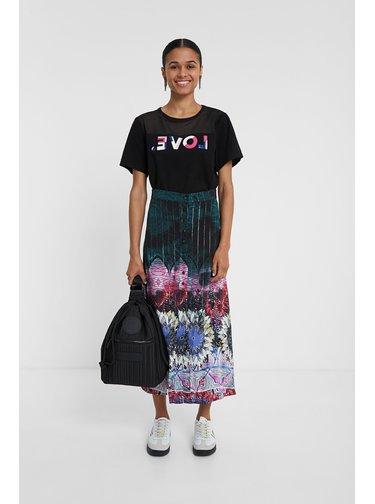 Desigual dlouhá petrolejová sukně Fal Florencia s barevnými motivy