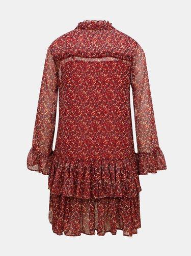 Červené kvetované šaty Pepe Jeans