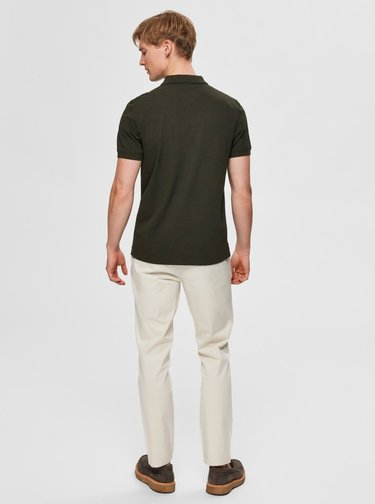 Khaki polo tričko Selected Homme Aro