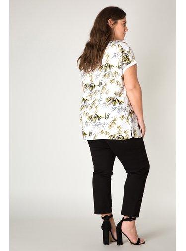 Yesta bílé dámské tričko Janoek s tropickými motivy