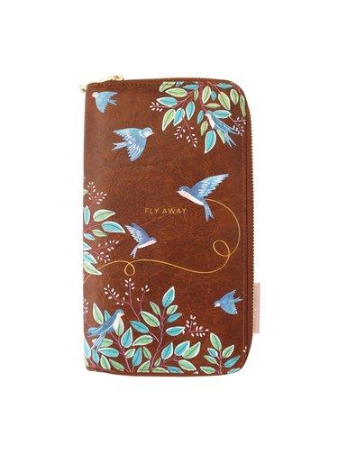 Disaster hnědý velký dokladovník Secret Garden Bird Travel Wallet