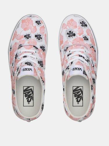 Růžovo-bílé dámské květované tenisky VANS