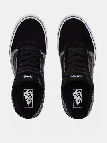 Čierno-šedé dámske tenisky s koženými detailmi VANS