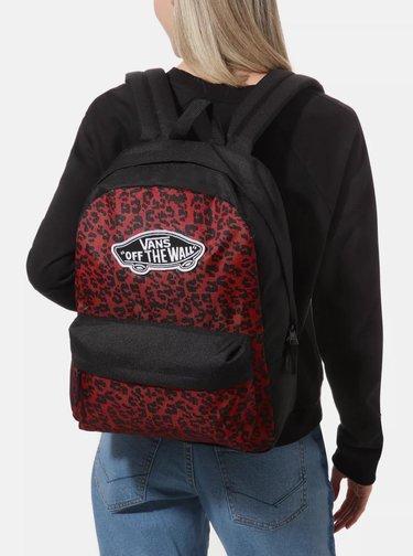 Černo-červený batoh s leopardím vzorem VANS 22 l