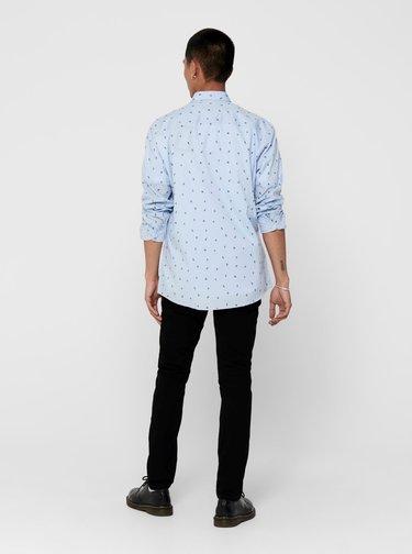 Světle modrá vzorovaná košile ONLY & SONS Sane