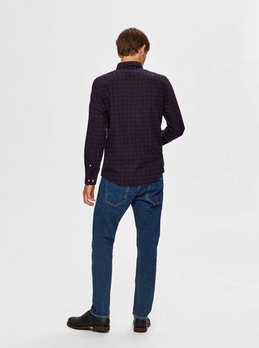 Modro-vínová kockovaná košeľa Selected Homme Flannel
