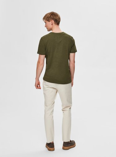 Khaki tričko Selected Homme Jared