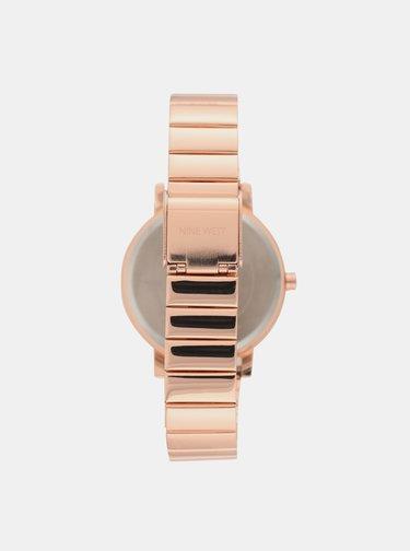 Dámské hodinky s kovovým páskem v růžovozlaté barvě Nine West