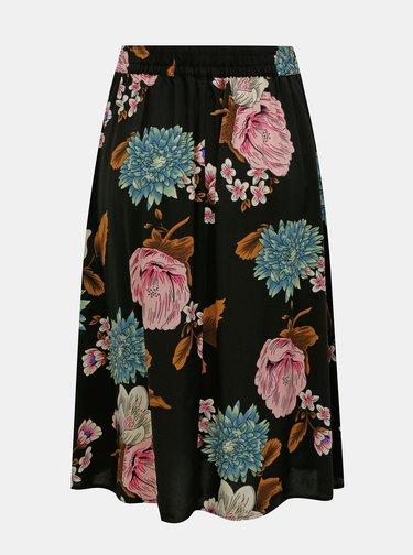 Černá květovaná midi sukně ONLY Nova