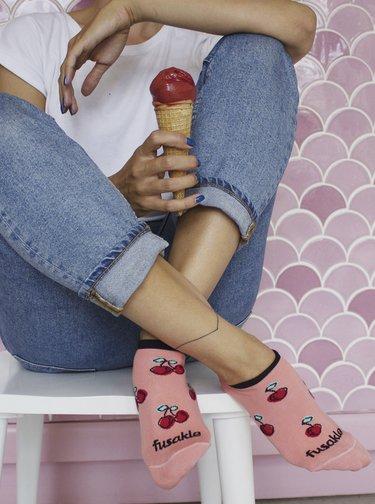 Růžové vzorované kotníkové ponožky Fusakle Třešeň