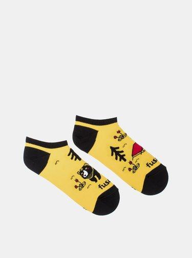 Žluté vzorované kotníkové ponožky Fusakle Kemping