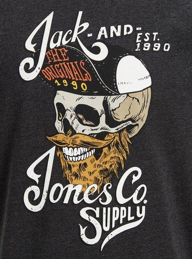 Tmavošedé tričko s potlačou Jack & Jones Skulling