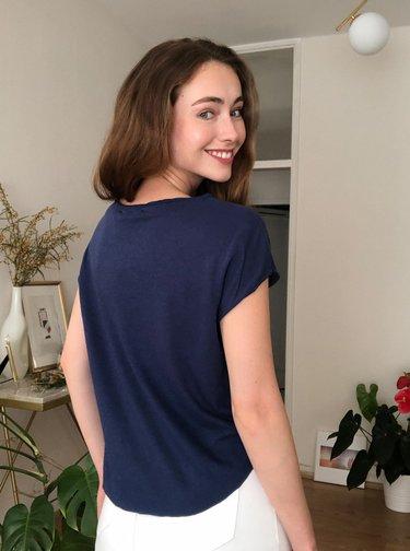 Tmavě modré basic tričko Trendyol