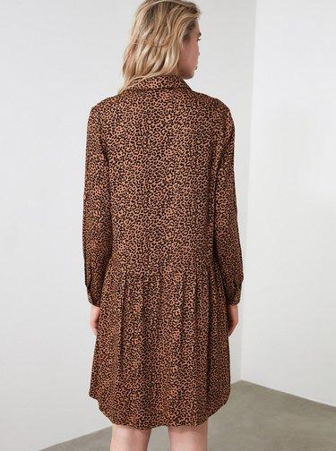 Hnedé košeľové šaty s leopardím vzorom Trendyol
