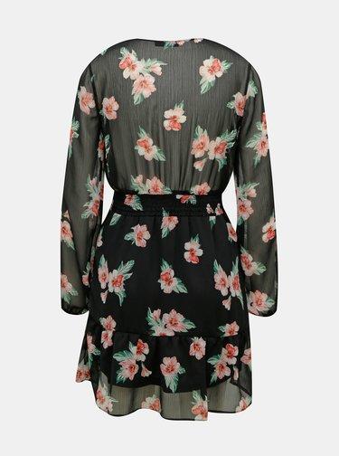 Čierne kvetované šaty s volánmi TALLY WEiJL