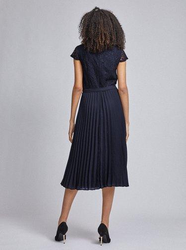 Tmavomodré plisované šaty s krajkovým topom Dorothy Perkins