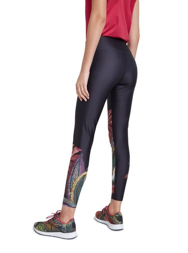 Desigual černé sportovní dámská legíny Legging 7/8 Winter Jungle