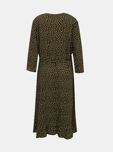 Černé květované zavinovací šaty ONLY CARMAKOMA