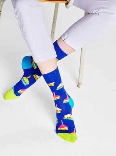 Modré vzorované ponožky Happy Socks Bday Cake
