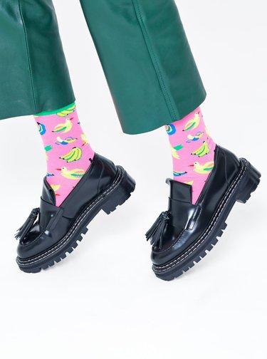 Růžové vzorované ponožky Happy Socks Banana Bird