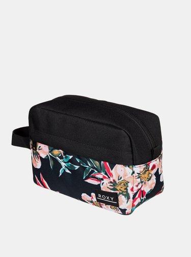 Čierna kvetovaná kozmetická taštička Roxy