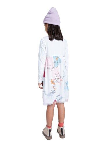 Desigual bílé dívčí šaty Vest Zamora