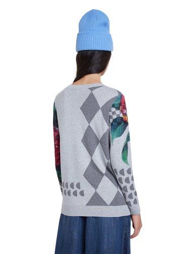 Desigual šedý svetr Jers Niagara s barevnými motivy
