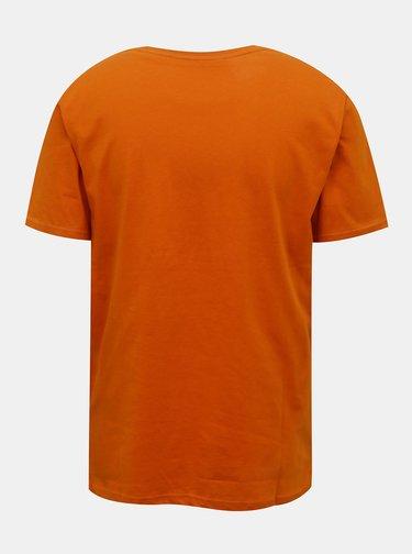 Oranžové tričko s potlačou ONLY & SONS Mono