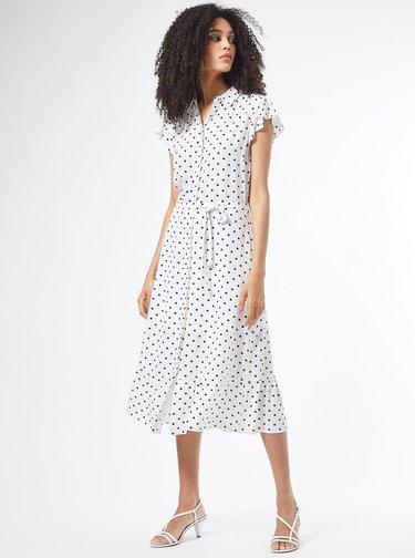 Biele košeľové bodkované šaty Dorothy Perkins