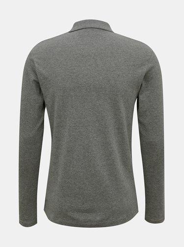 Šedé polo tričko s dlouhým rukávem Selected Homme Paris