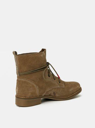 Béžové dámské semišové kotníkové boty s.Oliver
